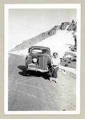"1936 Ford (Vintage Cars & People) Tags: vintage us usa america vintageusa classic black white ""blackwhite"" sw photo foto photography automobile car cars motor vehicle antique auto girl woman lady fashion blouse pants slacks 1930s thirties artdeco 1936 ford 1936ford lassenpeak mountlassen"