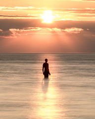 Another Time Sunset (Nathan J Hammonds) Tags: sunset kent uk england sea coast sculpture antony gormley man person summer water clouds sun cooling off nikon lee filters nd 10stop