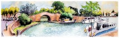Castelnaudary - canal du Midi - Occitanie - France (guymoll) Tags: googleearthstreetview castelhaudary france croquis sketch aquarelle watercolour watercolor écluse pont canaldumidi bateaux boats occitanie