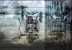 Rain (Jocelyn777) Tags: rain seaside buildings architecture cafe tables chairs pavement reflections storm weather turnercontemporarygallery margate textured