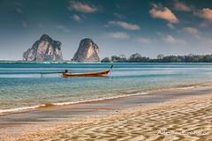 Pak Meng Beach Thailand (Adrian Evans Photography) Tags: asian sand asia wooden water longboat thai shallow sea coast woodenboat clouds coastline outdoor beach pakmengbeach adrianevans engine moored sky boat mountain pakmeng tropical thailand