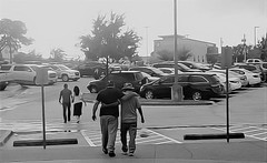 (Photosintheattic (Devy)) Tags: people flickr hugs humans cars parkinglot outing trees signs walking fatherandson men family friends woman man pals buds