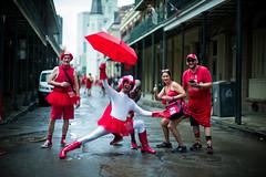 Red Dress Run (michael.mu) Tags: frenchquarter leica neworleans noctilux reddress leicanoctiluxm50mmf095asph rain reddressrun louisiana