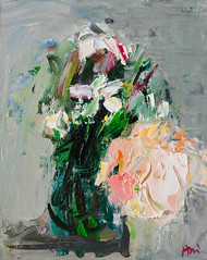Expressionistic Bouquet: Jasmine and Light Pink Rose on Gray (http://annafineart.net/) Tags: oilpainting expressionism contemporary modernart gallery original floral flowers artwork still life flower artstudio media bouquet pink oilmedia impressionist art arts painter dailypainter artist oil painting paintings fineart finearts textura impasto white expressionist artforsale professional thick paint paints annafineart annafineartstudio bunch rose abstract abstractpainting abstracto blue roses impressionism pintura colores pastel gente en la foto jasmine