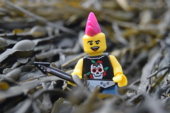 Seaweed Rock Star. (Working hard for high quality.) Tags: lego minifigure seaweed mini figure rockstar seaside toy colour sand beach music