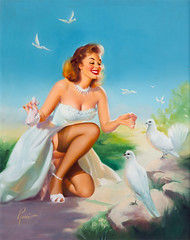 Pleasing Her Flock by Edward Runci, 1953 (gameraboy) Tags: edwardrunci painting art illustration vintage pinup pinupart woman sexy pleasingherflock 1953 1950s stockings thighhighs lingerie garterbelt