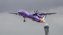 De Havilland Canada DHC-8-400 (Bombardier Q400) (f.dalmulder4) Tags: olympus omd omdem5 40150mmf28pro schiphol polderbaan microfourthirds micro43 mft flybe dehavillandcanadadhc8400 bombardierq400 takeoff purple condensation props aircraft airplane