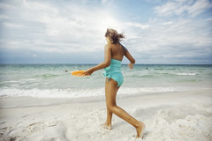(Rebecca812) Tags: beach colors orange teal blue green seashore running hair blowing wind action playful fun happiness lowangle childhood carefree florida gulf gulfcoast waves water sky horizonoverwater sand day outdoors nature people candid real genuine photography art fineart