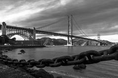 Golden Gate Bridge BnW (avram.silberztein) Tags: black white san francisco bridge sky water