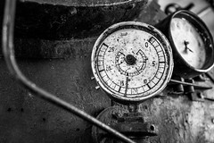 How much is it? (Péter Cseke) Tags: railway museum old steam locomotive interior blackandwhite mono monochrome historic measurement display gauge