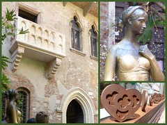 Touristenmagnet-tourist magnet (Anke knipst) Tags: italien italy verona collage julia statue balkon balcony