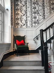 The Culver Hotel - Culver City, California (ChrisGoldNY) Tags: challengefactory challengewinner unanimous chrisgoldny chrisgoldphoto chrisgoldberg forsale licensing bookcover albumcover iphone socal california cali la interiors interiordesign red staircase chair furniture wallpaper banister losangeles culvercity culverhotel