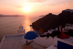 I love you (moniq84) Tags: love you forever greece santorini romantic bride groom blue white red dress rock skaros sea seascape seascapes sunset sunrise sky cycades marriage palaces church sun emotions people persons flare ray light