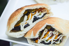 Meatle Eastern (joshbousel) Tags: bread condiment cucumber cuisine eat eggplant food fruit hummus meatwave middleeastern pickles pita sabich sauce tahini vegetable