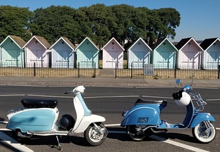 Pastel Scooters and Beach Huts