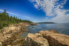 North of Thunder Hole, Acadia National Park, Maine (rocinante11) Tags: ocean atlantic water coast coastline maine acadia nationalpark acadianationalpark thunderhole rocks forest trees sky clouds canoneos5dmarkiii ef1635mmf28liiusm