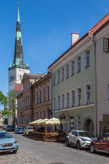 Street in Medieval Tallinn (AudioClassic) Tags: city medieval house europe estonia old architecture tallinn town historic heritage wall traditional ancient history exterior building capital baltic european tower estonian travel tourism landmark facade urban cityscape street historical summer culture view famous nordic day roof outdoor national vintage sightseeing tiles window residential windows sky
