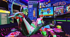 SOMETHING JUST LIKE THIS (Mind Crusher) Tags: newsnap snapback wings super mario second life edith alderbury joker khaos succubus versus event thor arcade comic neon