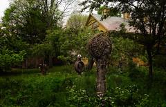 Three sculptures (Tigra K) Tags: baltimore ohio unitedstates us 2016 grass installation metal otherart sculpture tree village art