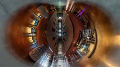 Azkuna Zentroa - Inside 3 (360º) (Juan Ig. Llana) Tags: bizkaia bilbao azkunazentroa alhóndiga philippestarck ricardodebastida interior columnas panorámica esférica 360 gigapan epicpro littleplanet techo piscina gente hdr