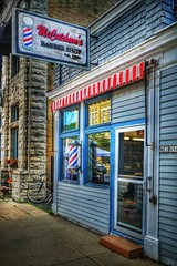McCutchen's Barber Shop (Ken Mattison) Tags: shop barbershop outdoor building signs oldsigns old colour colors blue mccutchensbarbershop cedarburgwisconsin wisconsin usa panasonic fz1000 light lightandshadows hdr