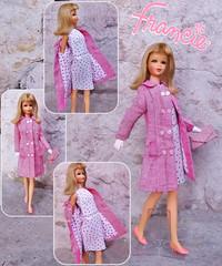 SHOPPING SPREE (ModBarbieLover) Tags: francie tnt doll mattel barbie pink tweed 1966 60s fashion blonde dress coat lining print white