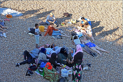 On the beach ( In explore ;-)))) (Finding Chris) Tags: explored inexplore chrisbarbaraarps canon60d 50mm brightonandhove brightonbeach daytrippers sunbathers relaxing eastsussex