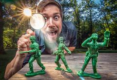 Army Ambush 198/365 (stevemolder) Tags: magnify glass army men toys strobist vello westcott snoot orange gel sun melt tokina canon summer 365