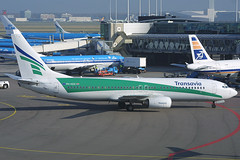 PH-HZX, Amsterdam Schiphol, November 5th 2003 (Southsea_Matt) Tags: phhzx transavia boeing 7378k2 eham ams amsterdam schiphol holland thenetherlands november 2003 autumn canon 10d airport aviation airplane airliner transport