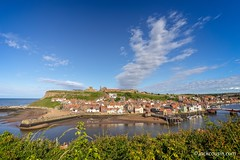 Whitby harbour cliff view. (jack cousin) Tags: beach cliff hill church houses jetty sky cloud foliage grass bridge horizon whitby yorkshire uk northsea seascape town coast shore seashore harbour harbor port sea water tourism travel touristattraction resort holiday vacation popular outdoor nikond610 on1photos
