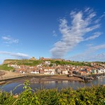 Whitby harbour cliff view. thumbnail