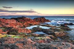 Abendstimmung und Blick auf Fuerteventura (PhotoChampions) Tags: mood sunset ocean fuerteventura lanzarote shoreline seaside coast küste spain spanien felsen rocks sjy himmel blue magenta blau grün green clouds wolken kanarischeinseln canaryislands water wasser