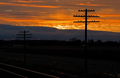 Sunrise along the old NYC Railroad # 2 (NS Chicago Line) (monon738) Tags: telephone telegraph electricity railroad railway insulator glassinsulator indiana noblecounty pentax k3 power powerlines codeline poleline electric old sunrise smcpda50135mmf28edifsdm