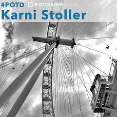 Karni Stoller 19.7.18 POTD web (iPhotographyCourse) Tags: ferris wheel london eye coca cola attraction cloudy sky monochrome black white leading lines low angles circle camera photographytutorial photographer elearning onlinelearing tutorial
