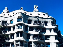 La Pedrera, Barcelona (lindsipindsi_) Tags: casamila modern art gaudi architecture blue barcelona lapedrera highcontrast