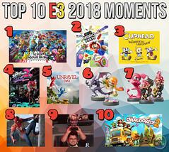 Top 10 E3 2018 Moments (Captain Luigi) Tags: e3 2018 nintendo switch super smash bros ultimate mario party cuphead splatoon 2 amiibo unravel spiderman ps4 invitational overcooked
