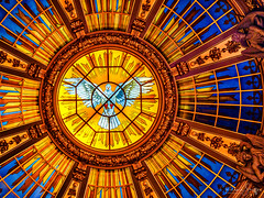 Stained glass dome in a Berlin Church. (Dick Shaffer) Tags: dome stainedglass glass stained dove colorful architecture skylight bird church flickrtravelaward