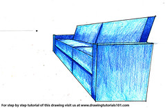 One Point Perspective Couch (drawingtutorials101.com) Tags: one point perspective couch using drawings draw drawing color colors coloring how pencil pencils speed