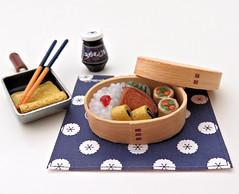 Momoya's Stylish Recipe # 7 (MurderWithMirrors) Tags: rement miniature food meal momoya mwm omelette omelet chopsticks sushi rice pan spice bento seasoning