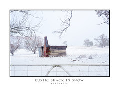 Ramshackle rustic shack (sugarbellaleah) Tags: snowing field shack shed rustic cabin timber planks chimney metal rust ramshackle old aged icicles snow rural countryside gate outback alpine winter season pretty awe white dilapidated runsown trees nature australia beautiful scenic scenery picturesque red patina icicle roof corrugatediron wooden oberon farm farmland