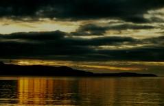 Sunset over Vanna (J_Piks) Tags: norway hurtigruten 1999 sea sunset reflection vanna