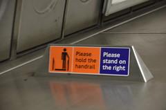 Please hold the handrail (afagen) Tags: london england uk unitedkingdom greatbritain londonunderground underground tube thetube subway transit waterloo movingsidewalk sign subwaystation