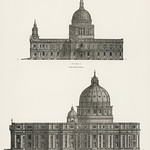 Architecture: St. Paul and St. Peters Cathedral from the book, Encyclopaedia Britannica 9th edition (1875), illustration of the famous religious British landmark. Digitally enhanced from our own original plate. thumbnail
