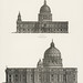 Architecture: St. Paul and St. Peters Cathedral from the book, Encyclopaedia Britannica 9th edition (1875), illustration of the famous religious British landmark. Digitally enhanced from our own original plate.