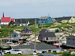 Peggys Cove, Nova Scotia (clickclique) Tags: cove peggyscove novascotia ns buildings dock houses colorful colourful wharf sky boat car rocks yellow blue red inexplore