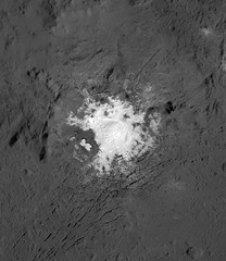 Cerealia Facula in Occator Crater, variant (sjrankin) Tags: 18july2018 edited nasa grayscale dawn occatorcrater brightspot salt crater primage ceres cerealiafacula pia21924