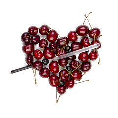 Heart of cherries. Concept of healthy eating, vegetarianism, vitamins (Serge Touch) Tags: raw vitamin vegetarian sweet red background fruit concept organic dessert freshness cherry summer ripe berry delicious food healthy shape heart diet tasty eating snack health vegan wooden juicy nature natural top view white jam table many juice garden group life agriculture antioxidant love sweetcherry detox horizontal heap form freshcherries fresh