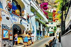 Tourists shopping in Amalfi