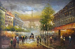 Paris At Night, Art Painting / Oil Painting For Sale - Arteet™ (arteetgallery) Tags: arteet oil paintings canvas art artwork fine arts architecture city building europe travel tourism town street old landmark cityscape ancient sky buildings urban house landscape exterior historic european culture tourist houses famous panorama structure avenue skyline summer france downtown residential cities impressionism orange grey paint