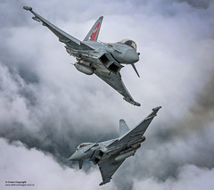 Two Typhoon FGR4 aircraft, flown by 29 (R) Squadron from RAF Coningsby (Defence Images) Tags: raf100 royalairforce raf equipment aircraft combat typhoon fgr4 multirole squadron sqn operationalconversionunit 29rsquadron 29rsqn defence free defense uk british military wolverhampton westmidlands unitedkingdom